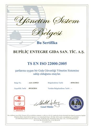 Yönetim Sistem Belgesi 22000